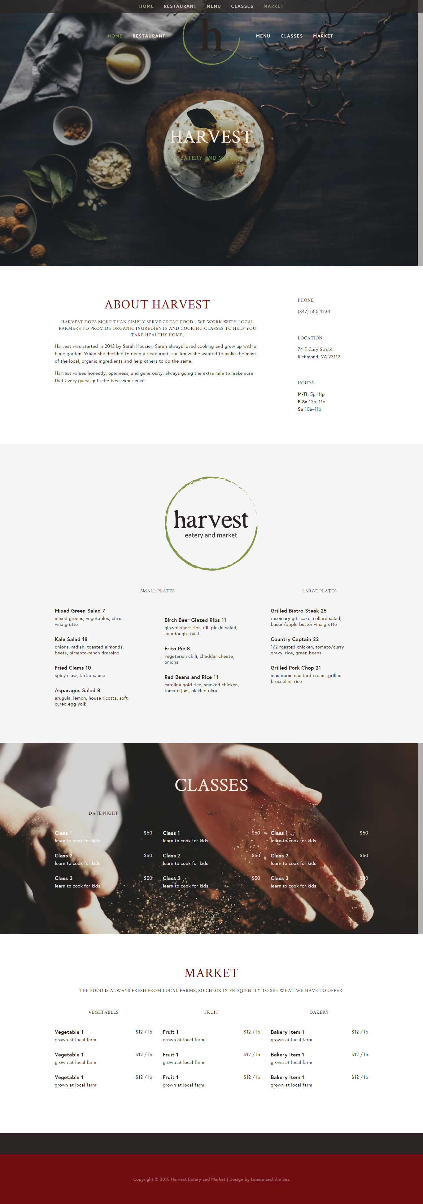 Harvest Eatery and Market | Lemon and the Sea: Website for Harvest designed on Squarespace featuring warm colors, beautiful images, and everything a restaurant website needs to attract customers.