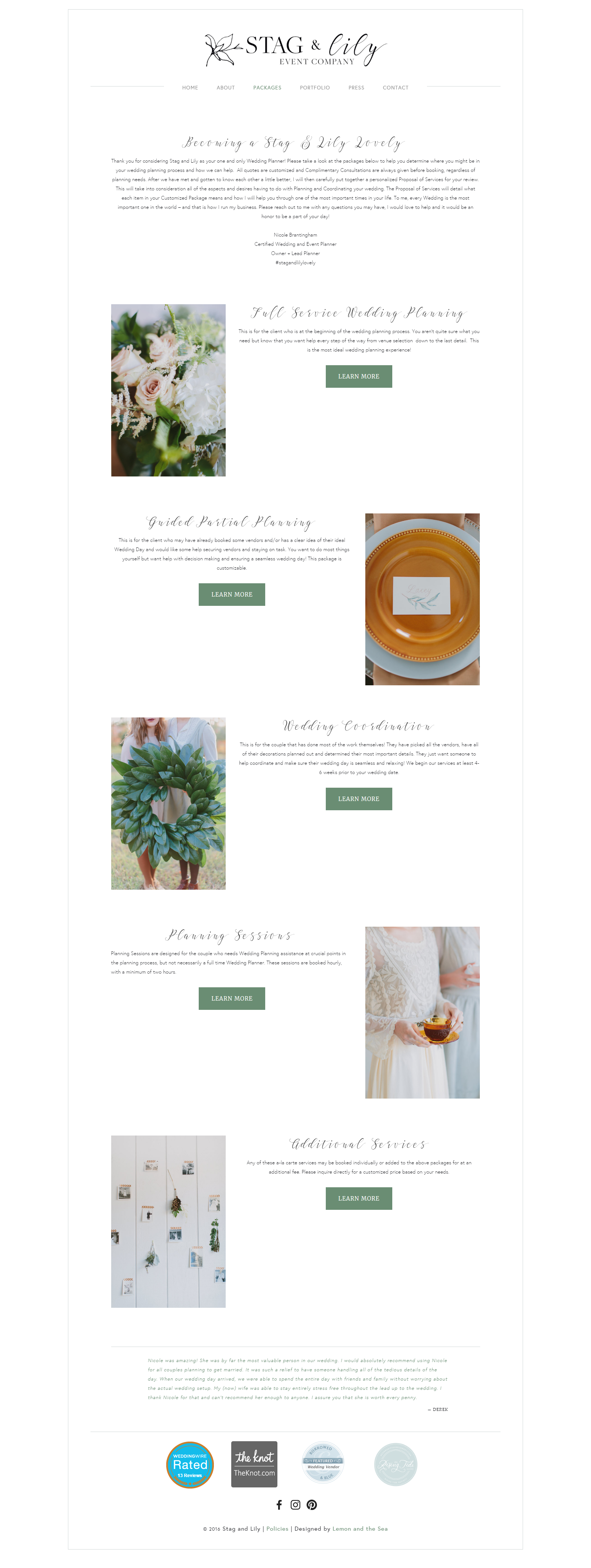 Custom Website Design Services Page for Stag & Lily Event Company | Lemon and the Sea: Luxe Boho Chic brand and  custom Squarespace website for event planner in Richmond, VA. Earthy, classic, sophisticated to reach both brides and grooms.