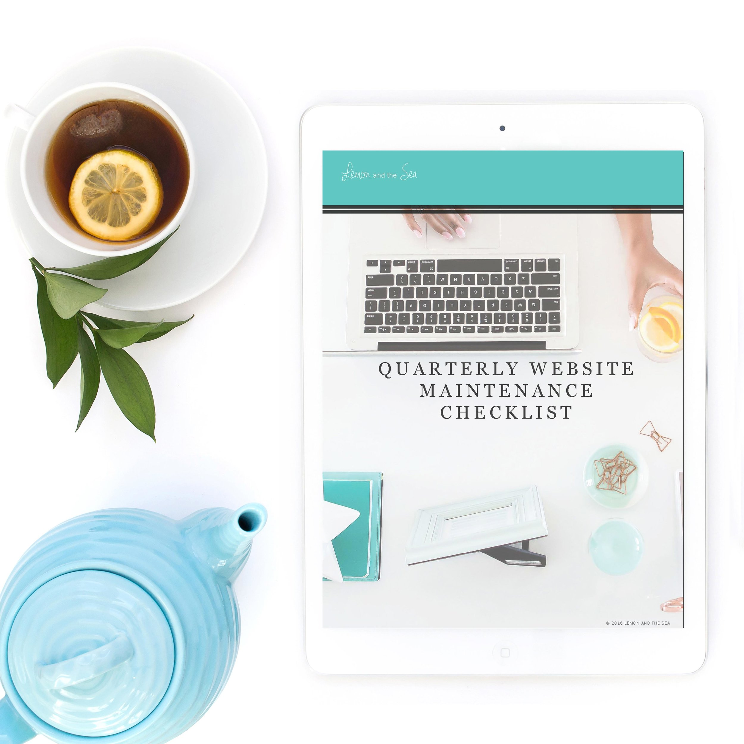 Quarterly Website Maintenance Checklist free guide from Lemon and the Sea for strategic website design with beauty and brains