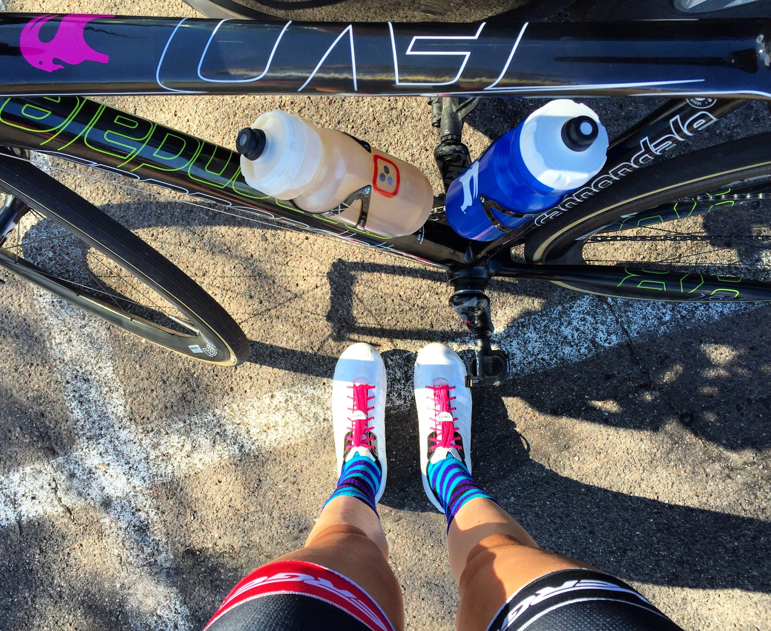 Hydration, party socks, and goat power. Important elements to a successful race.