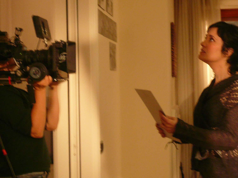 Coralina Cataldi-Tassoni on set of THE DIRT