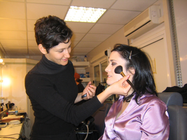 Coralina Cataldi-Tassoni in make-up chair for MOTHER OF TEARS
