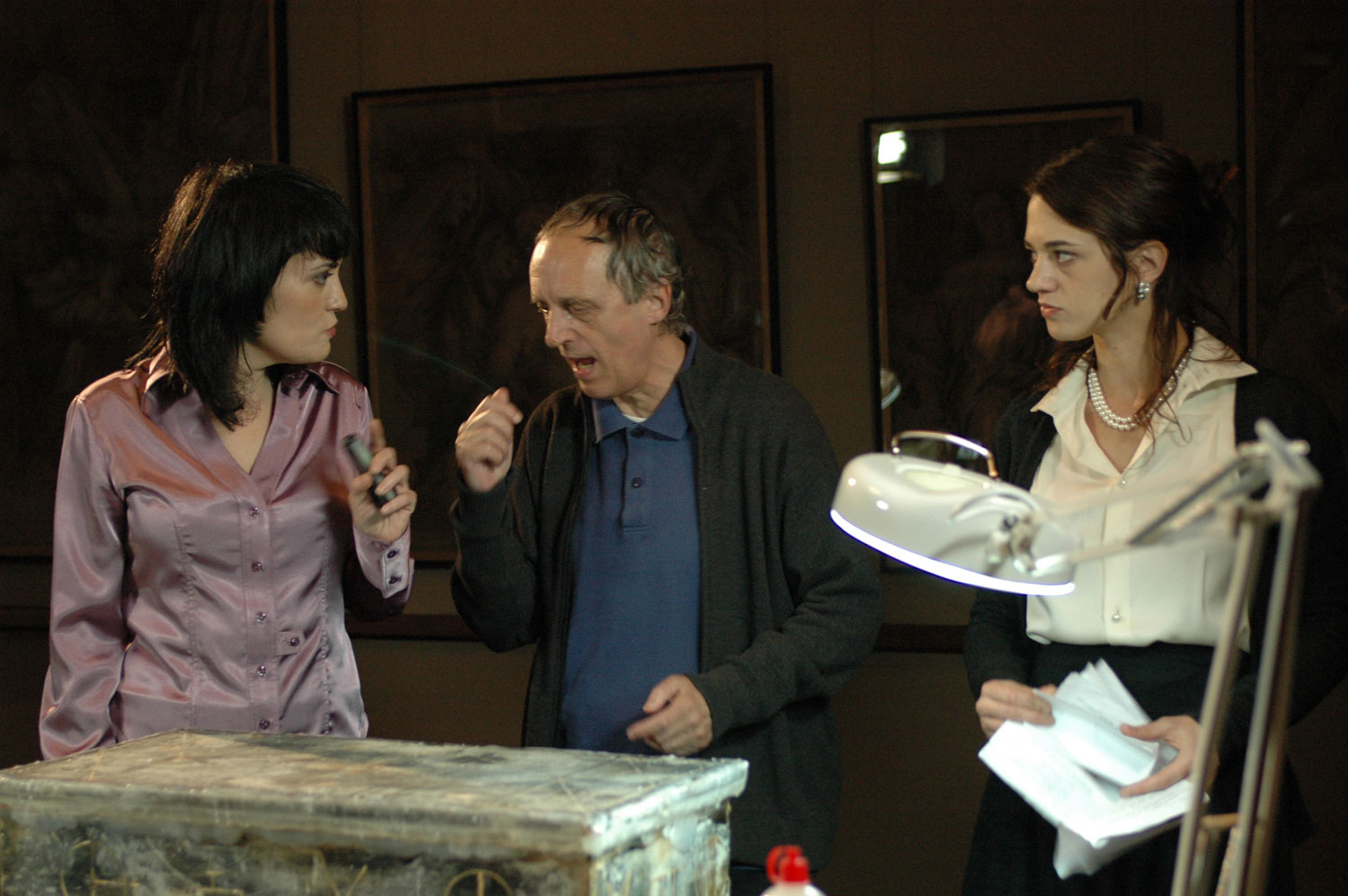 Coralina Cataldi-Tassoni  with Dario and Asia Argento on set of MOTHER OF TEARS