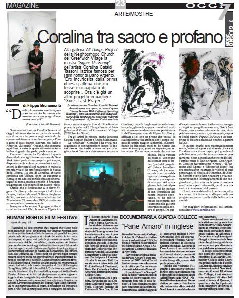 Coralina Cataldi-Tassoni article Coralina Tra il Sacro e il Profano.jpg
