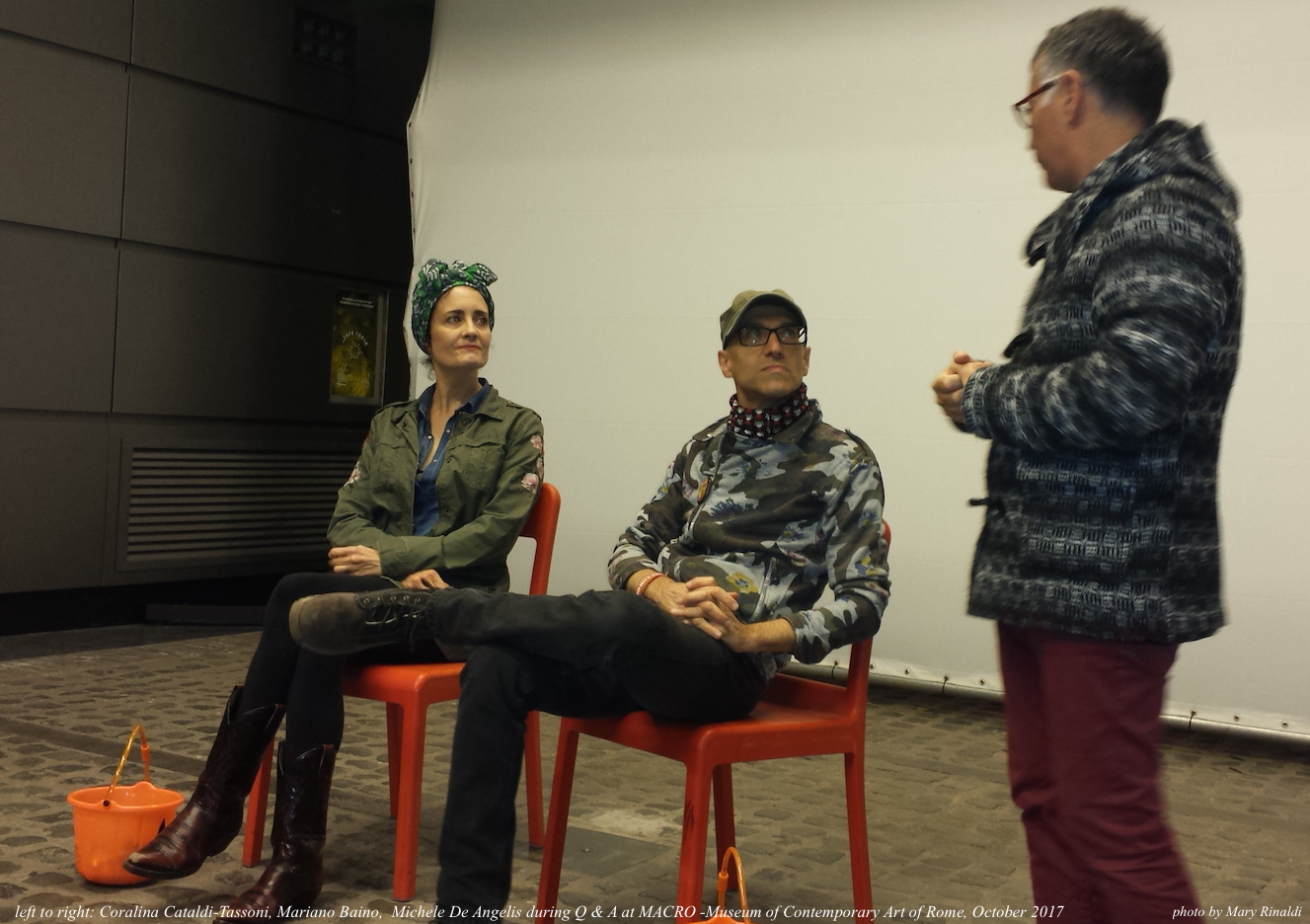 left to right: Coralina Cataldi-Tasssoni, Mariano Baino and Michele De Angelis during  Q & A at MACRO