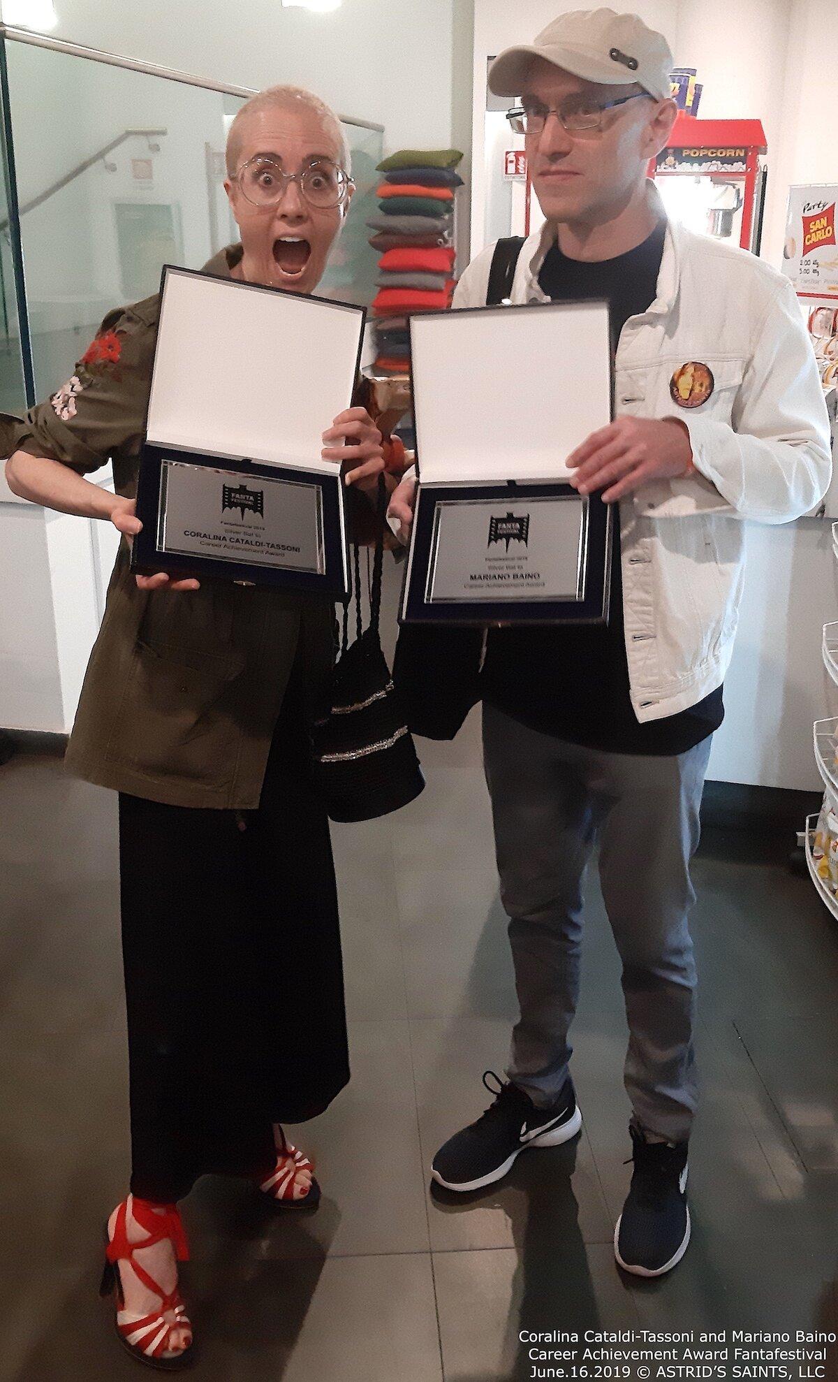 Coralina Cataldi-Tassoni and Mariano Baino Career Achievement Award Fantafestival June.16.2019 © ASTRID'S SAINTS, LLC.jpg