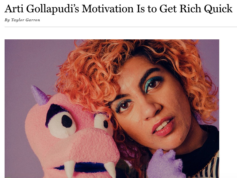Arti Gollapudi's Motivation is to Get Rich Quick - Vulture Follow FridayThis week, Arti and I chatted about hot babysitters, making your therapist laugh, and forgetting that straight male comedians exist.