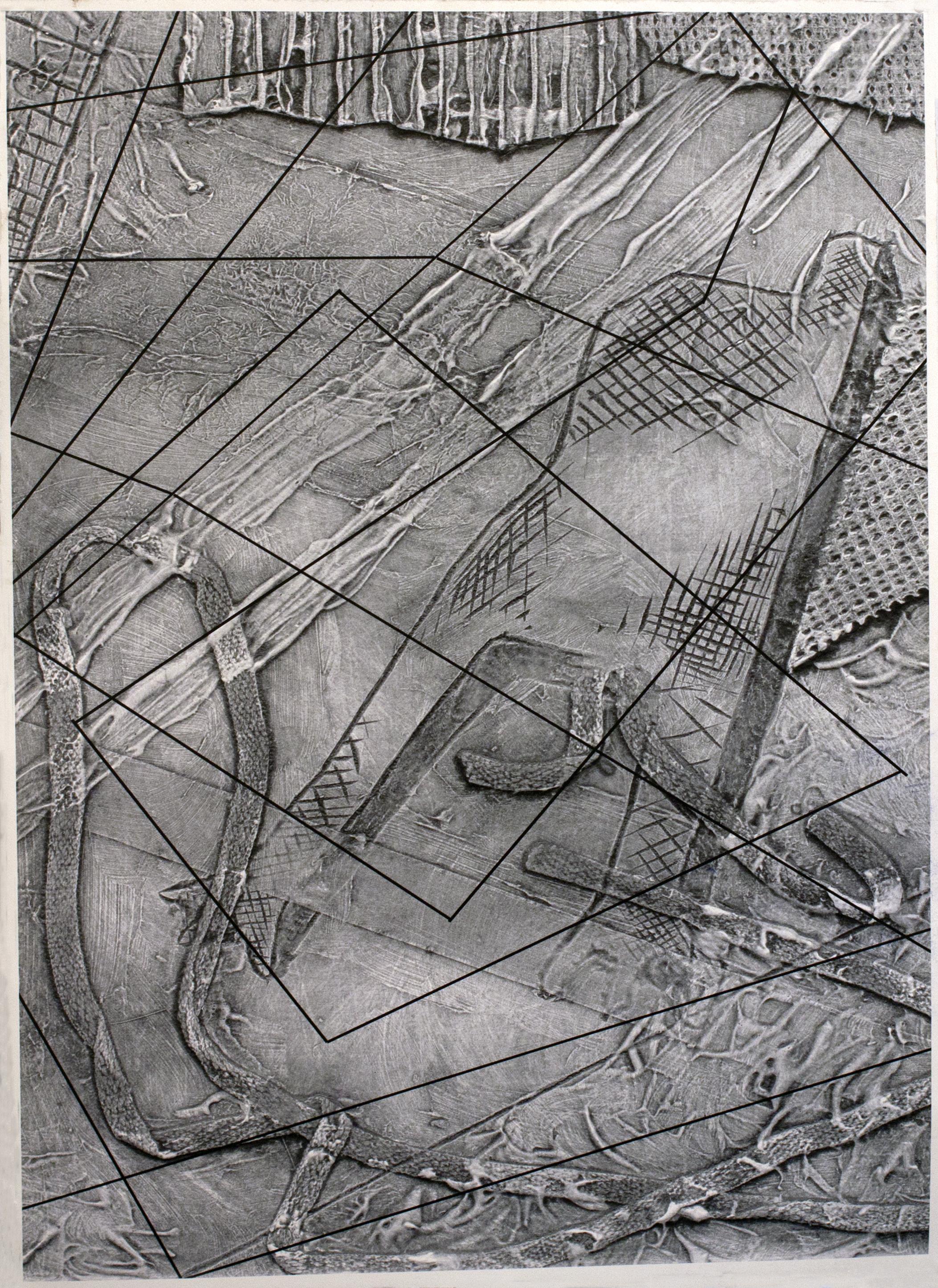 """Manos"", Collagraph/Digital Print, 22"" x 30"", 2013"