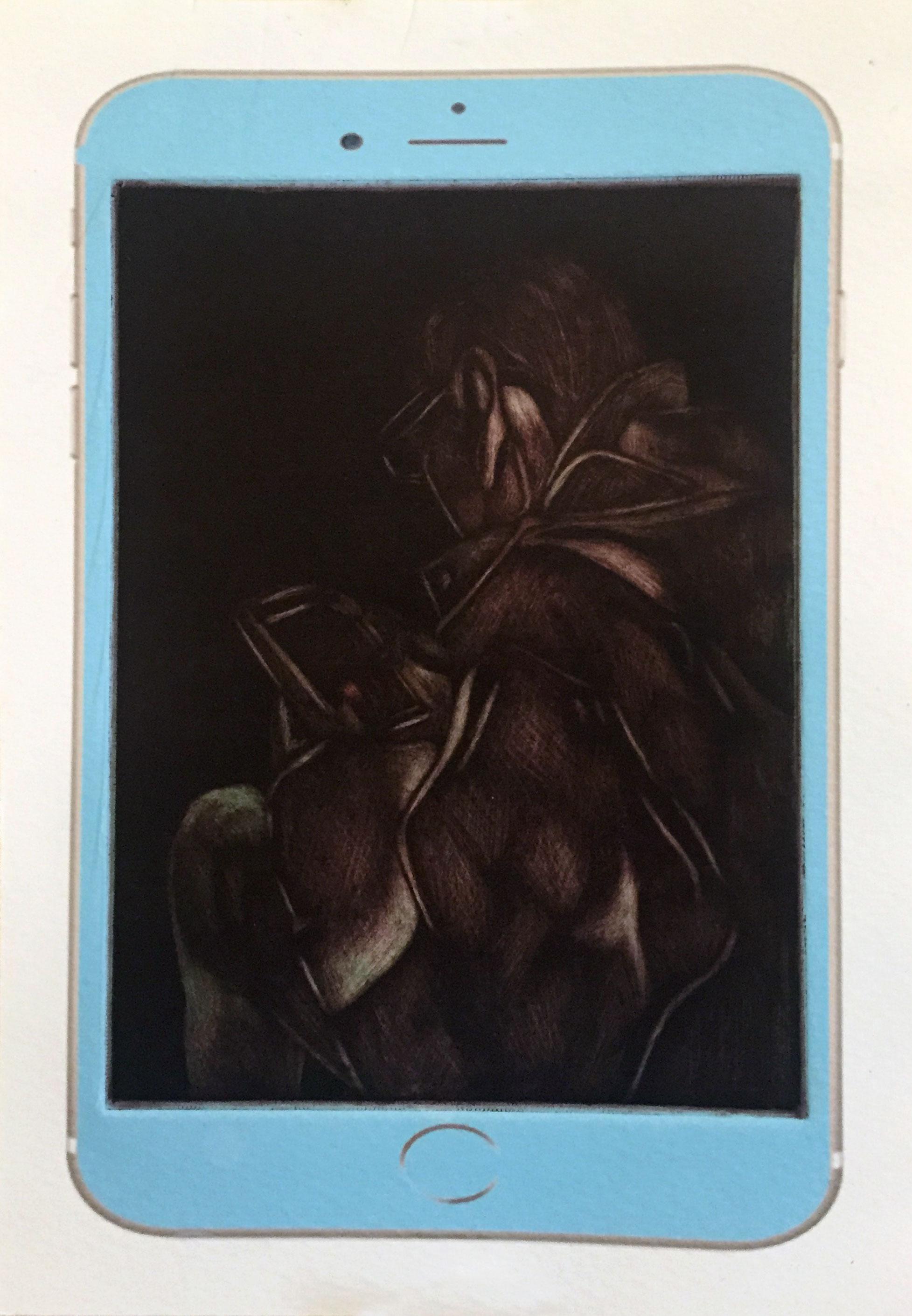 """""""Somewhere Else"""", Mezzotint/Digital Print, 6"""" x 8"""", 2015"""