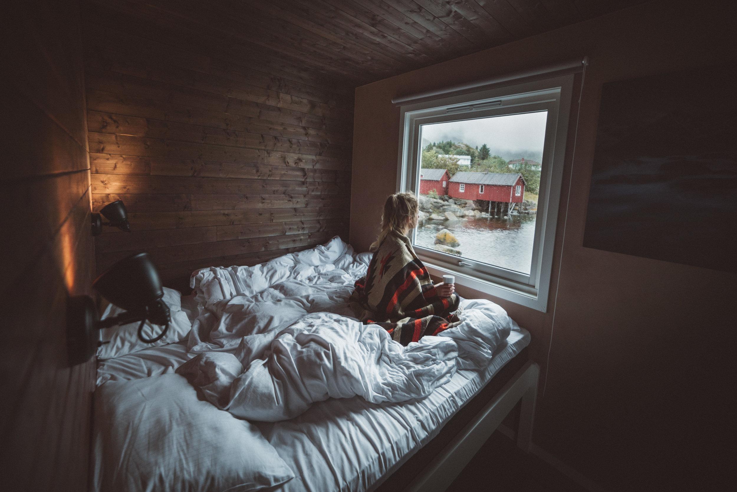 Waking up in our cozy cabin at Hattvika Lodge