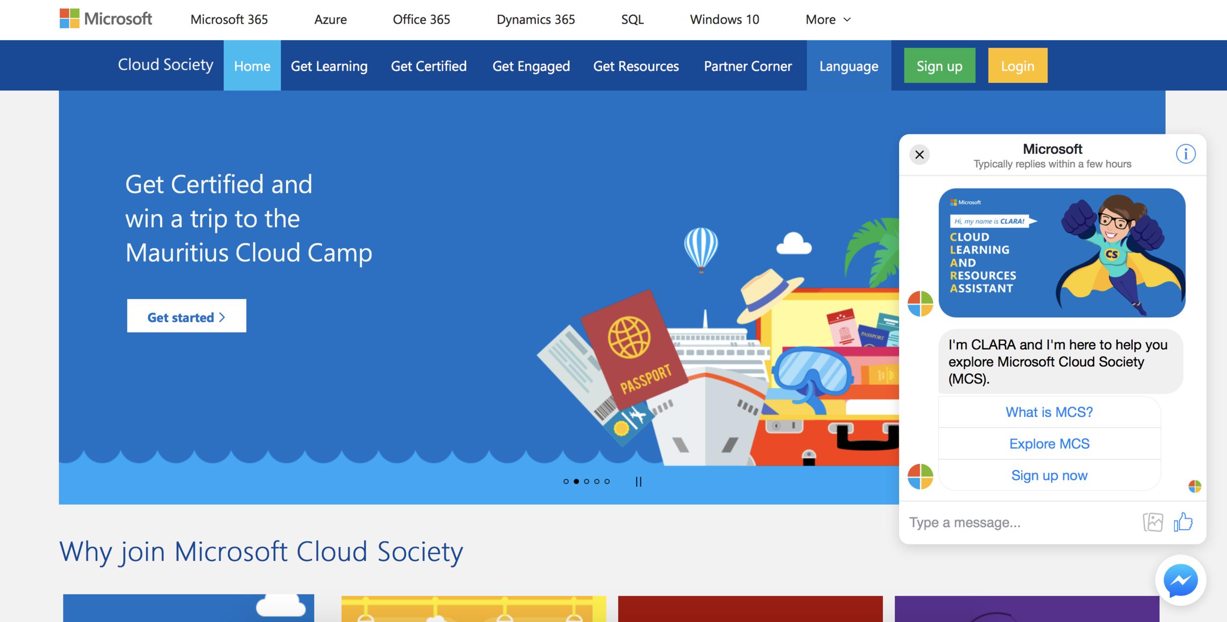CLARA - Microsoft Cloud Society homepage.png