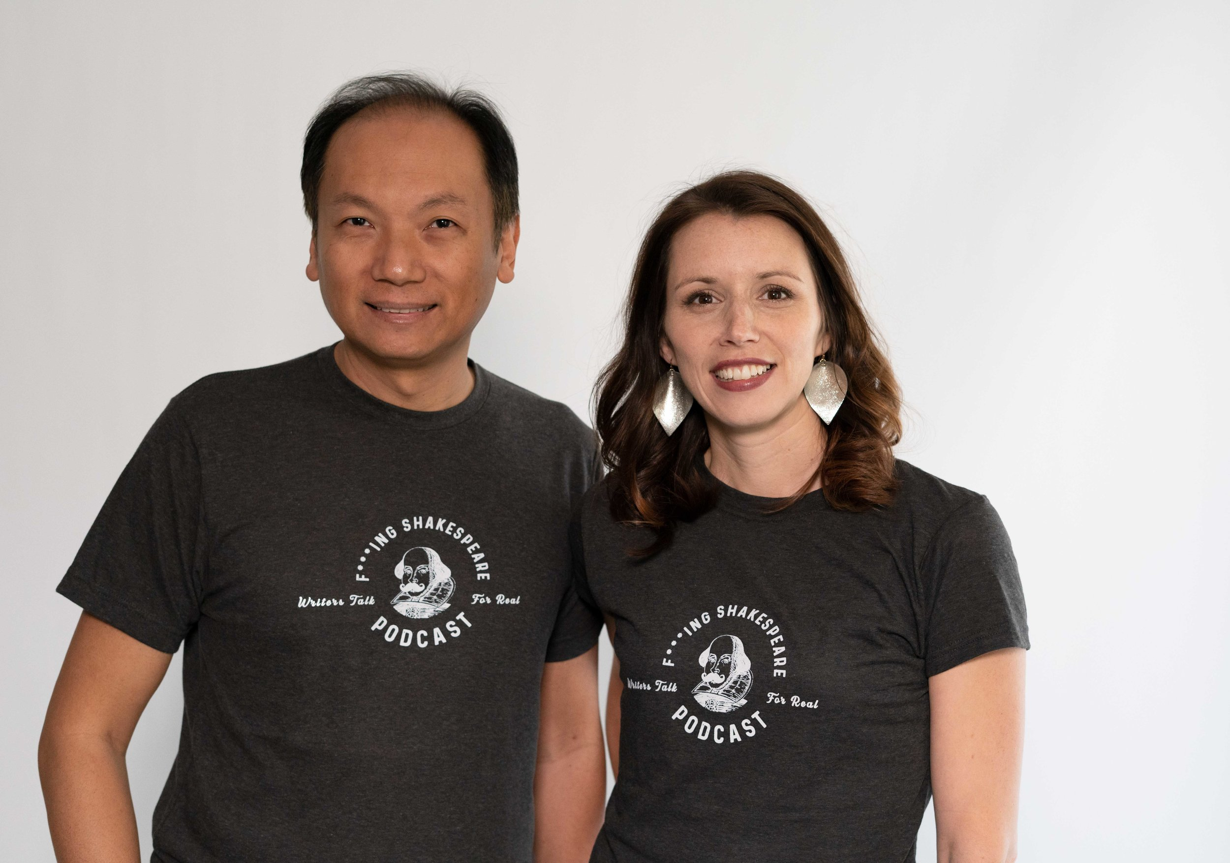 F***ing Shakespeare co-hosts, Phuc & Kate, sporting the new shirts!