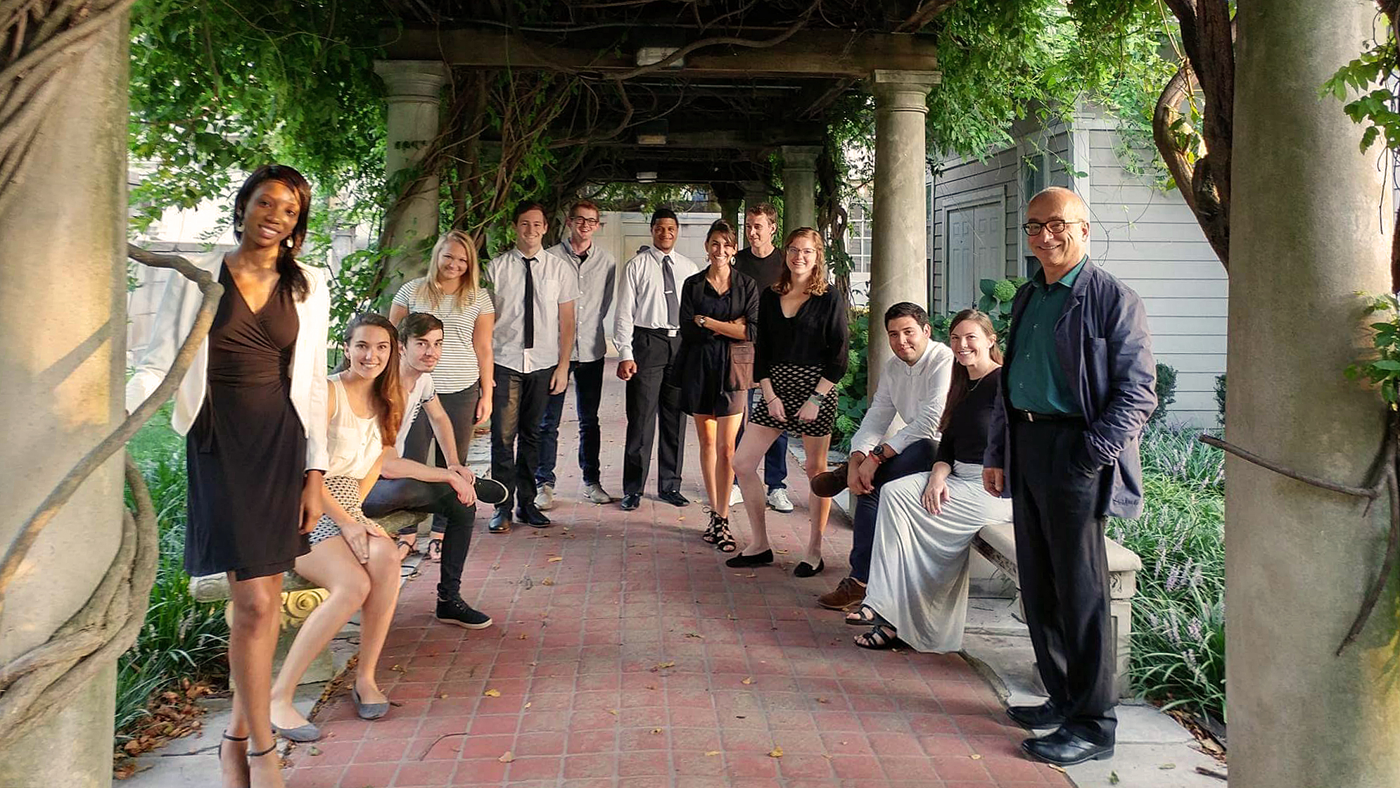 KCDC Studio at the Kansas City Museum. Left to Right: Jessica Carson, Courtney Minter, Travis Snell, Taylor Allen, Drew Lindsey, Connor Privett, Isaiah Naives, Julia Guerra, Eric Janes, Kylie Schwaller, Kevin Madera, Hannah Hackman, and Professor Vladimir Krstic.