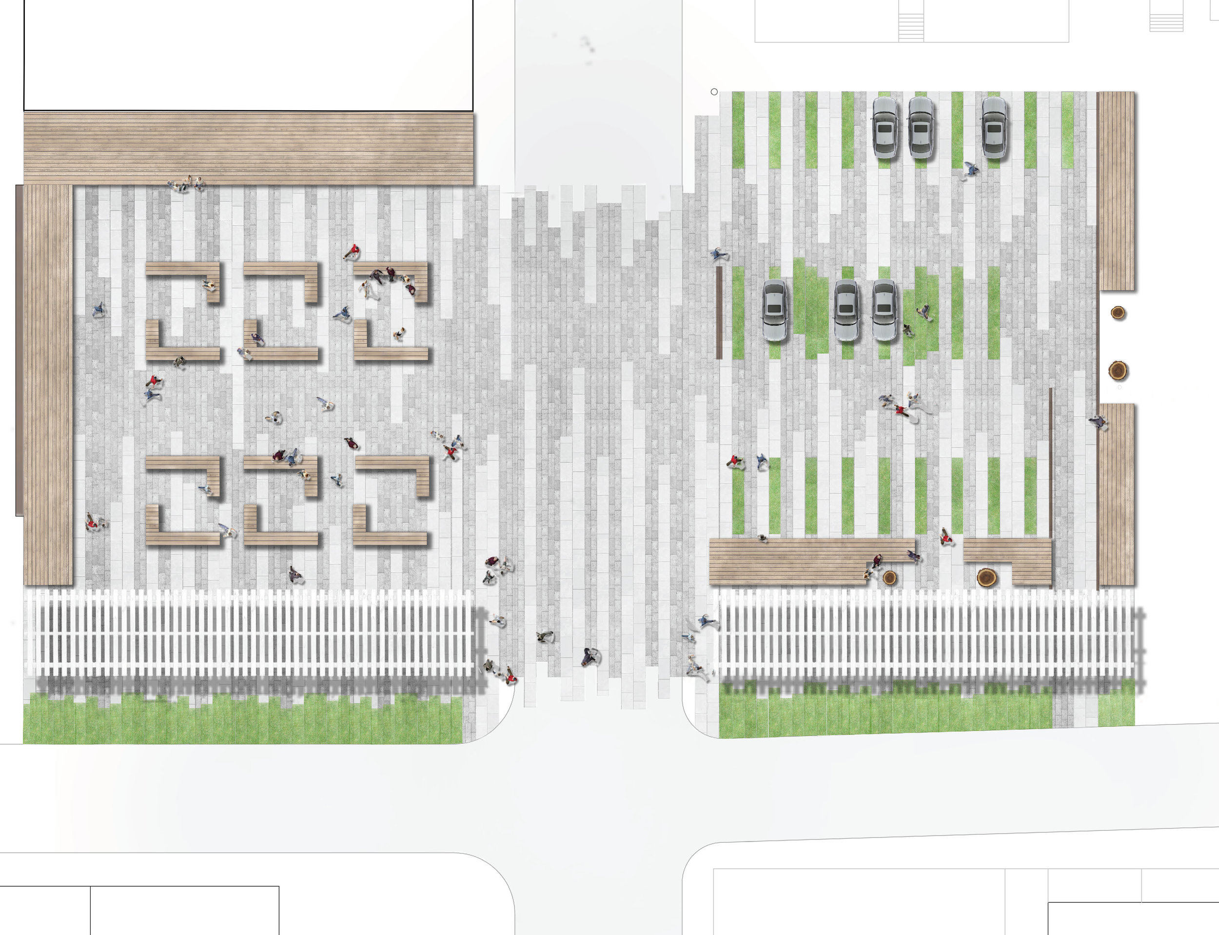Hickory Lots proposes a public space that defines a boundary, can accommodate parking if needed, as well as commemorates the recent loss of four mature trees