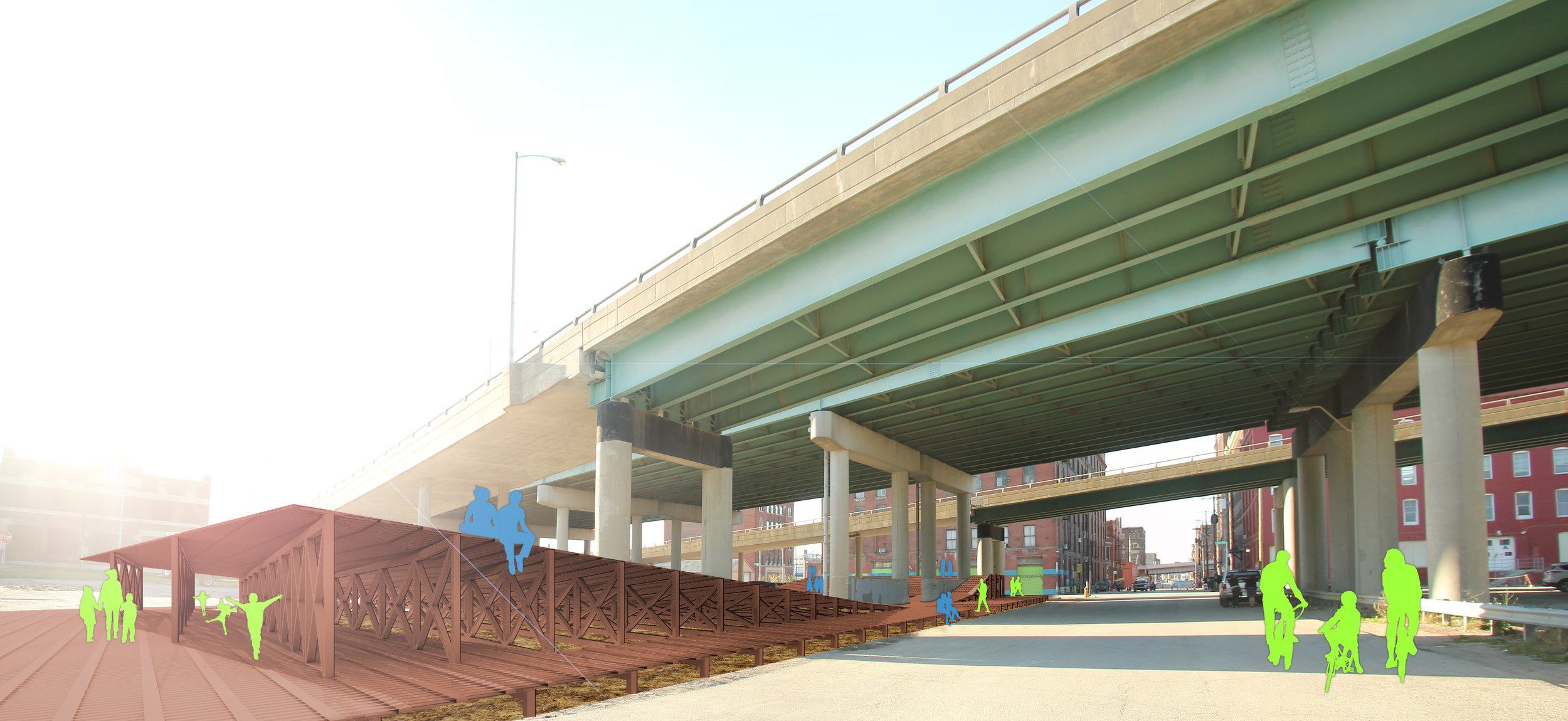 The design for the I-670 viaduct site gives purpose to the otherwise barren spaces underneath the highway viaducts. this dead space currently acts as a wall between the Historic Core and the Stockyards District. a public space can transform this wall condition into a threshold condition.