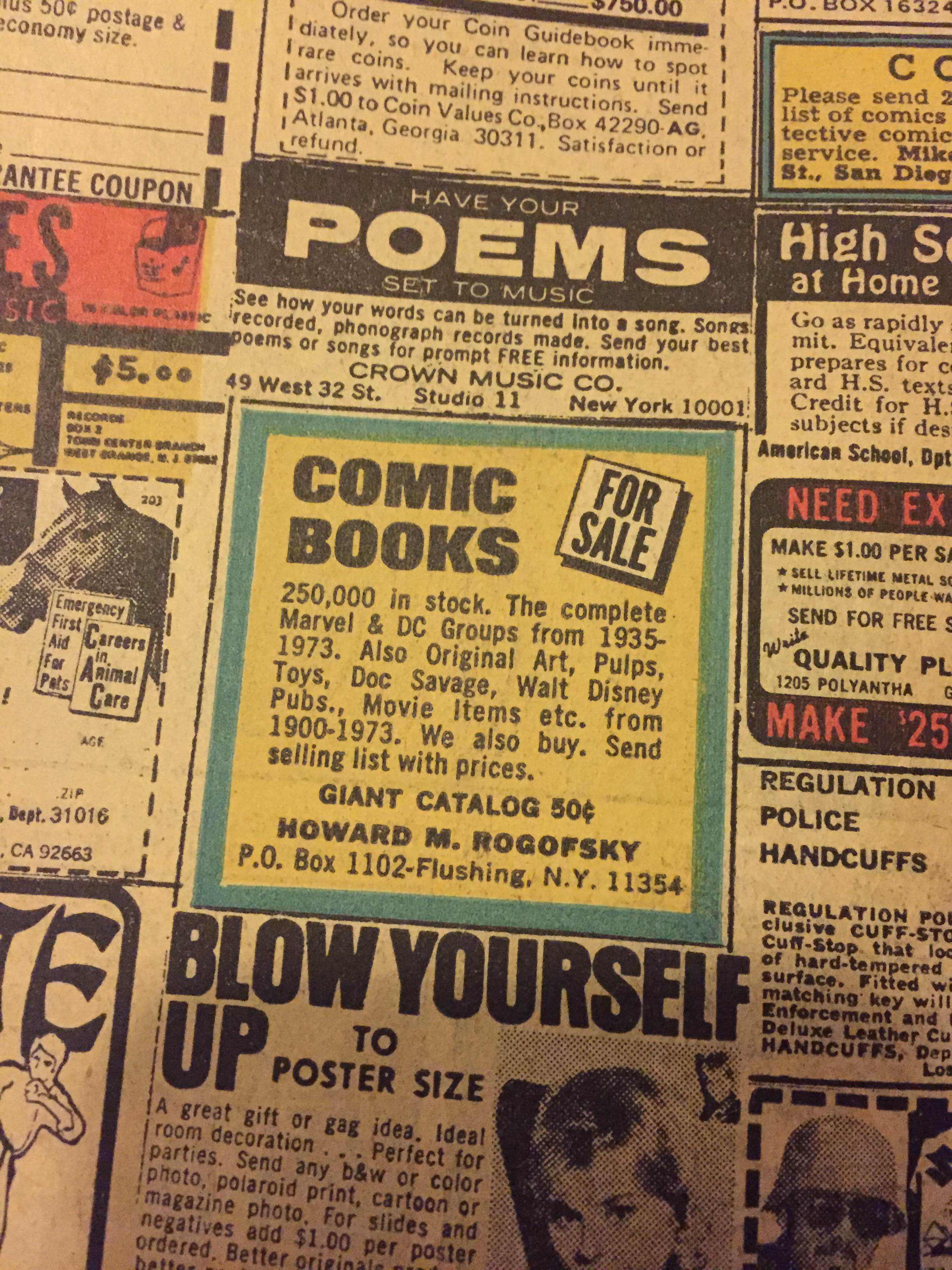 250,000 issues in stock. That means 250,000 books from 1973 or earlier. Can you imagine!