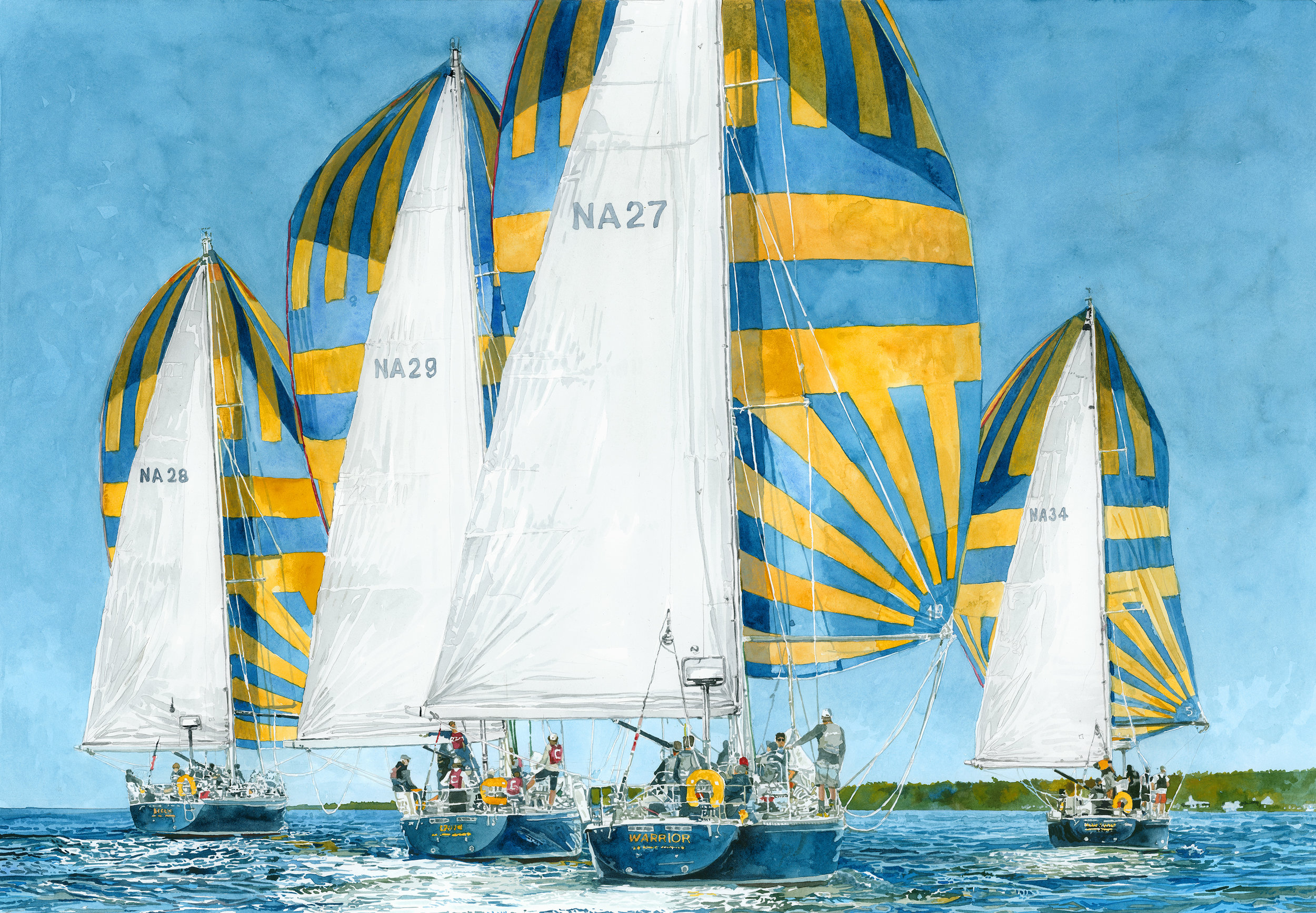 """""""Bringing the Wind"""" / Navy 44s / Kennedy Cup, 22"""" x 17"""" Giclee Print 