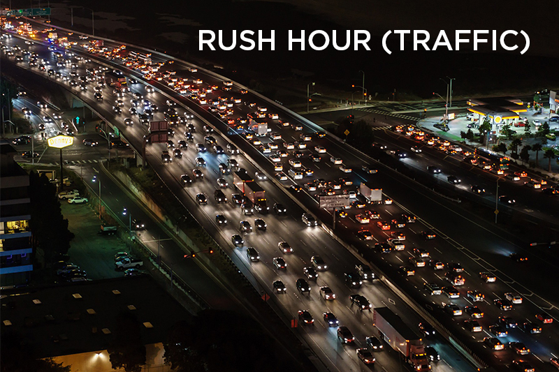 Rush hour traffic usually occurs twice each weekday – once in the morning, once in the afternoon – when the most number of people are traveling to and from work.