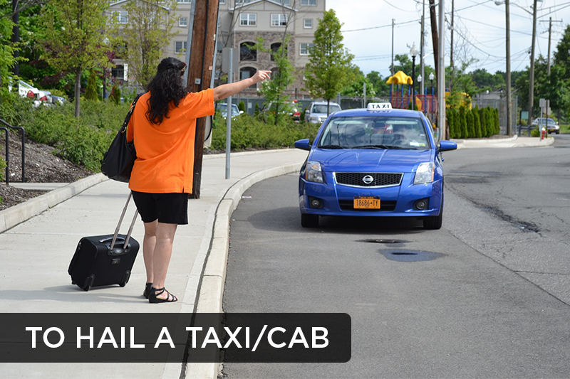 This action refers to signaling to a taxi or a cab that one would like a ride.