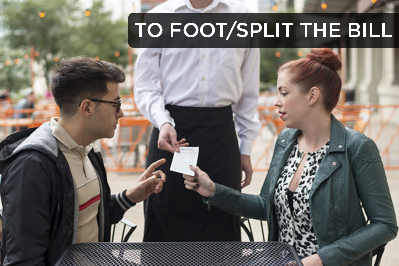 """""""To foot the bill"""" refers to paying the bill, often for something expensive. """"To split the bill"""" refers to dividing up the check at a restaurant so each person pays for their own meal."""