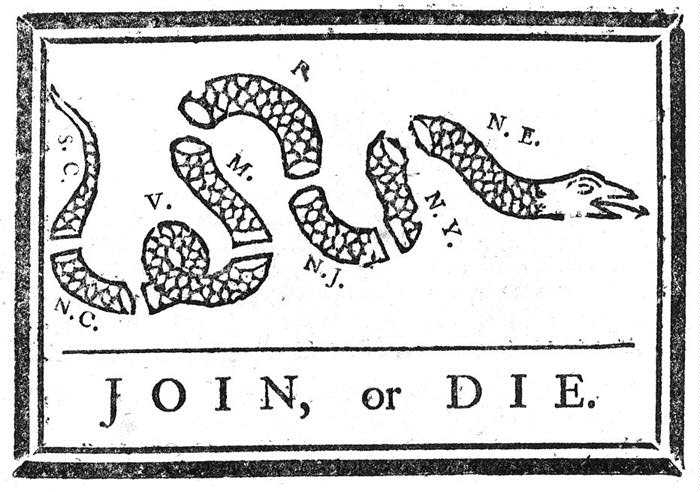 Join, or Die by Benjamin Franklin was recycled to encourage the former colonies to unite against British rule