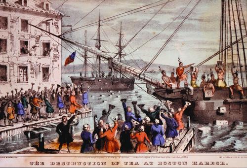 The Destruction of Tea at Boston Harbor, Nathaniel Currier