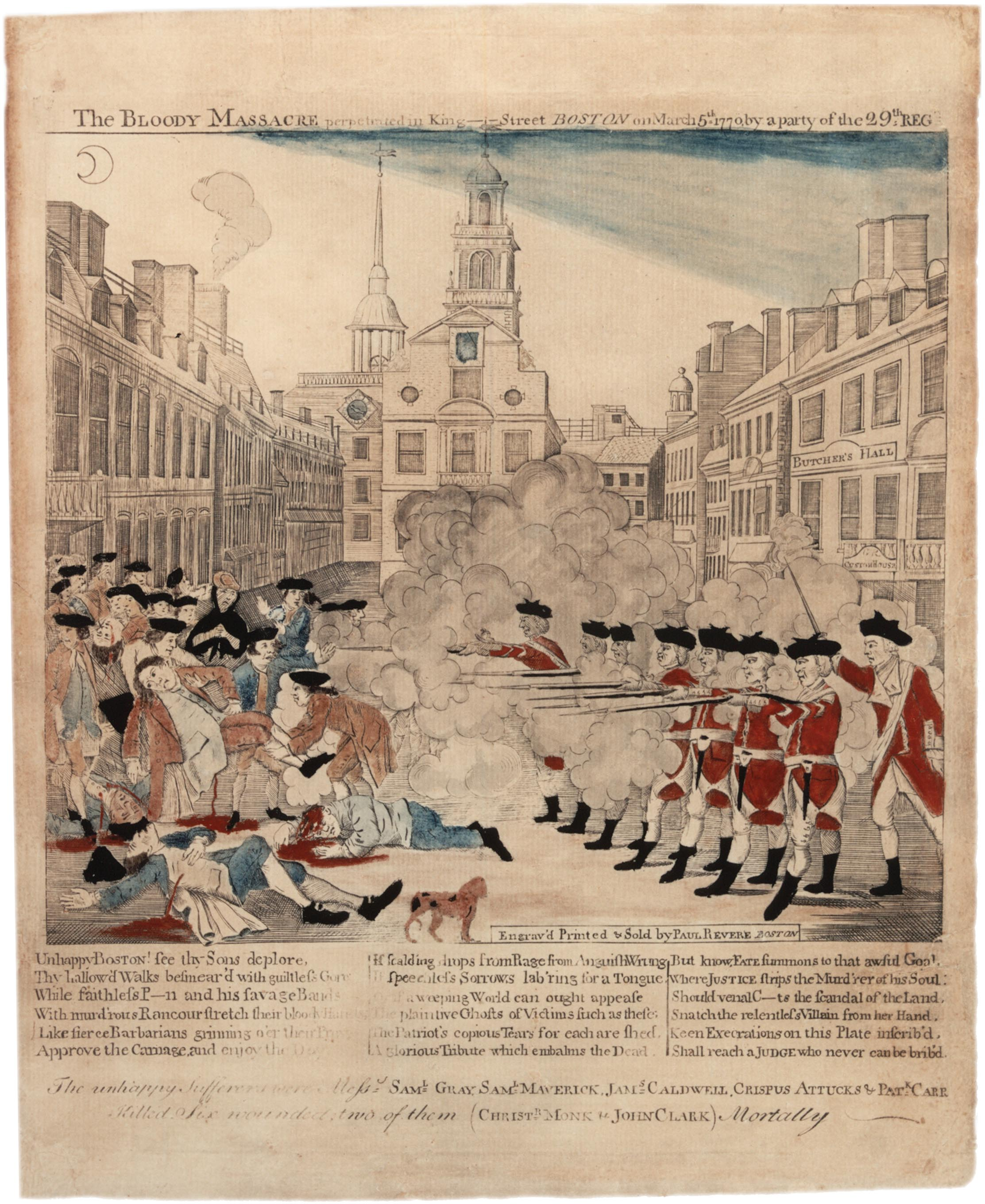 This famous depiction of the event was engraved by Paul Revere (copied from an engraving by Henry Pelham), colored by Christian Remick, and printed by Benjamin Edes. The Old State House is depicted in the background.