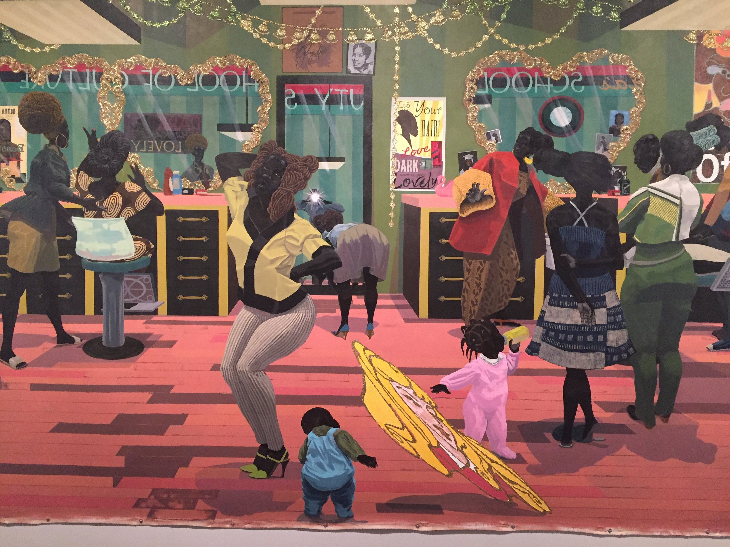 """Kerry James Marshall. """"School of Beauty, School of Culture,"""" 2012. Acrylic and glitter on canvas. 8 ft. 11 7/8 in. × 13 ft. 1 7/8 in. Birmingham Museum of Art, Museum purchase with funds provided by Elizabeth (Bibby) Smith/"""