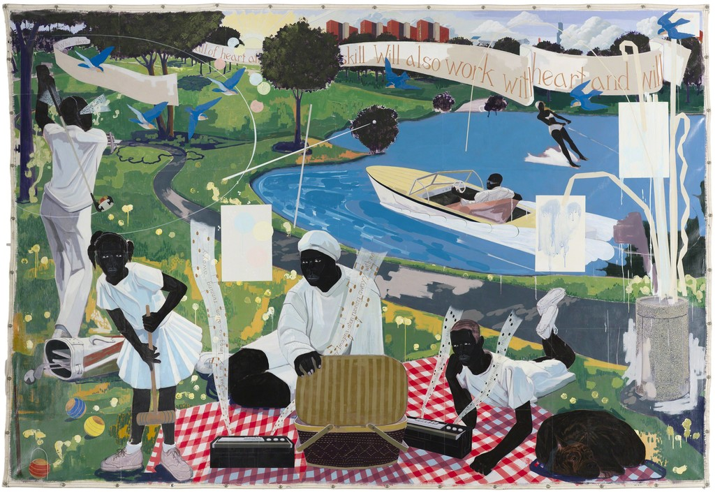 """Kerry James Marshall, """"Past Times,"""" 1997, Acrylic and collage on canvas, 9 ft. 6 in. × 13 ft. Metropolitan Pier and Exhibition Authority, McCormick Place Art Collection, Chicago."""