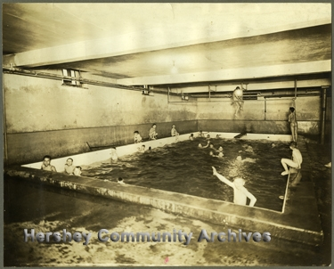 Hershey's first indoor pool opened in 1911. Swimming lessons were offered to both boys and girls.