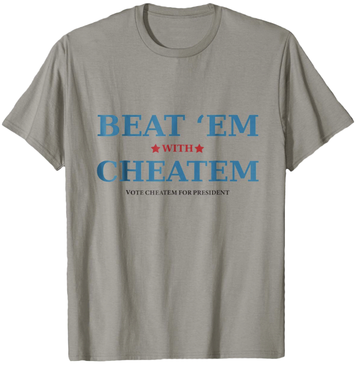 Beat 'Em With Cheatem - Color(s): Slate, White, Baby Blue, Silver, Heather GreyDesign © 2018 by C. K. Conners