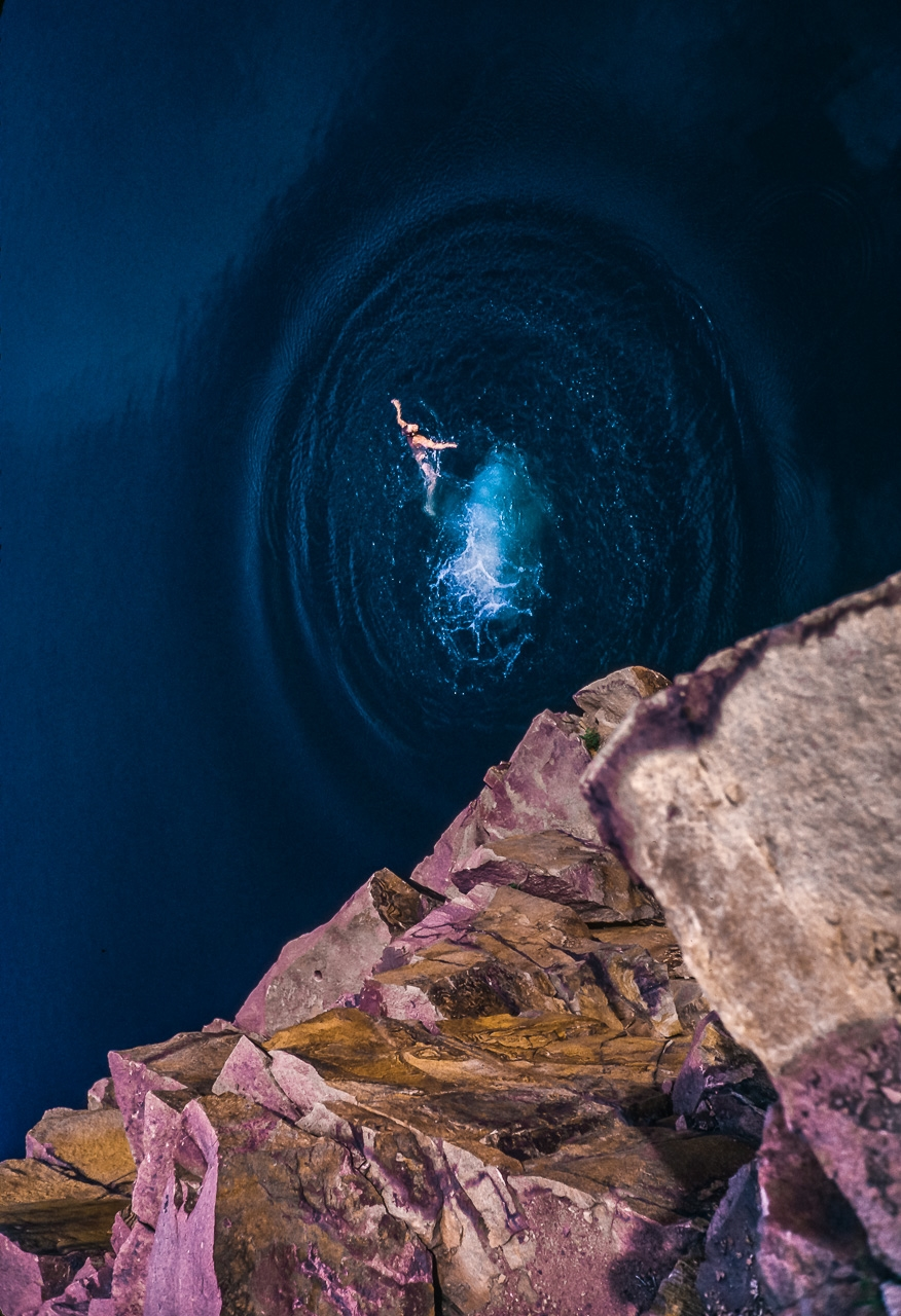Bold Cliff Diver Creates Blue-Water Wave Halo