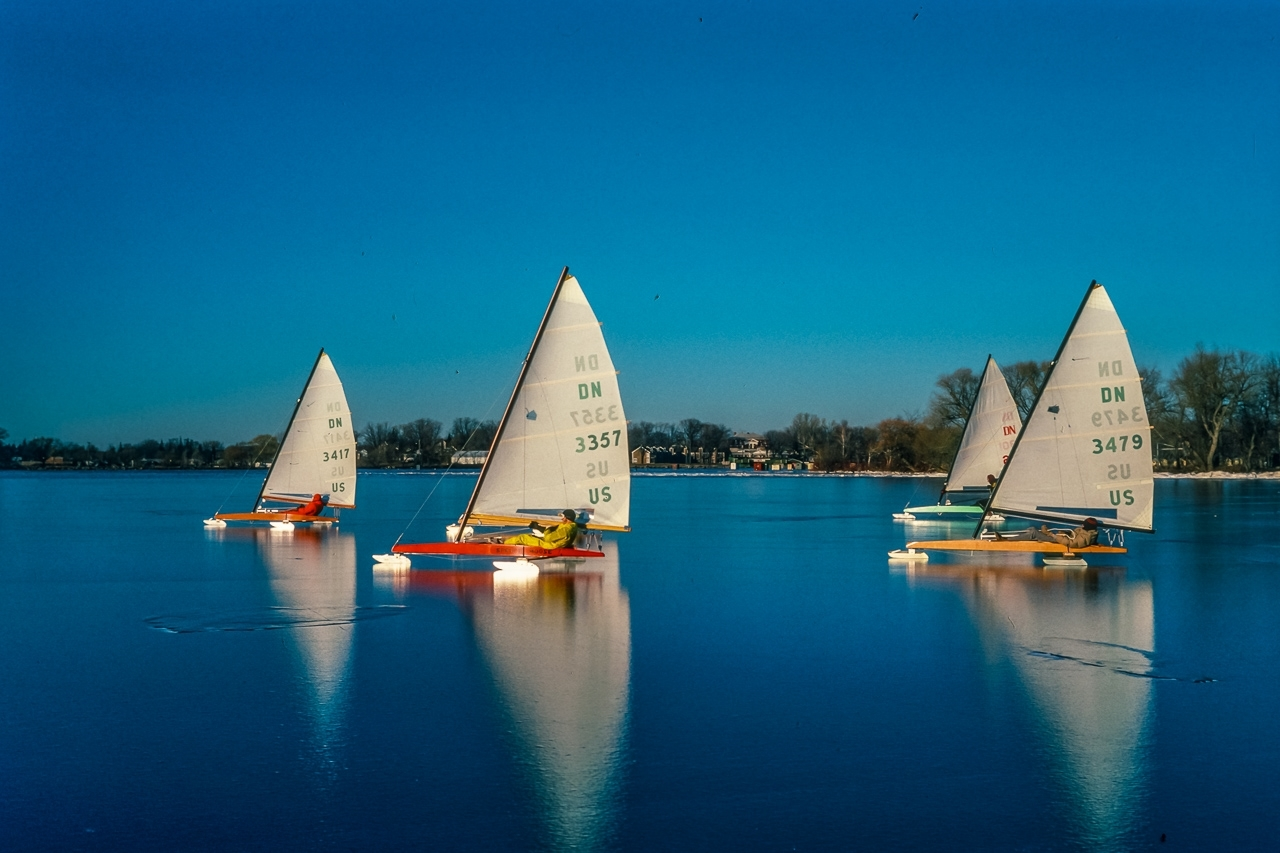 DN Iceboats Race On Rare Black Ice, Green Lake, Wisconsin.