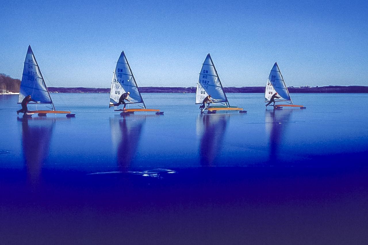 Start of the Race on Mirror Black Ice