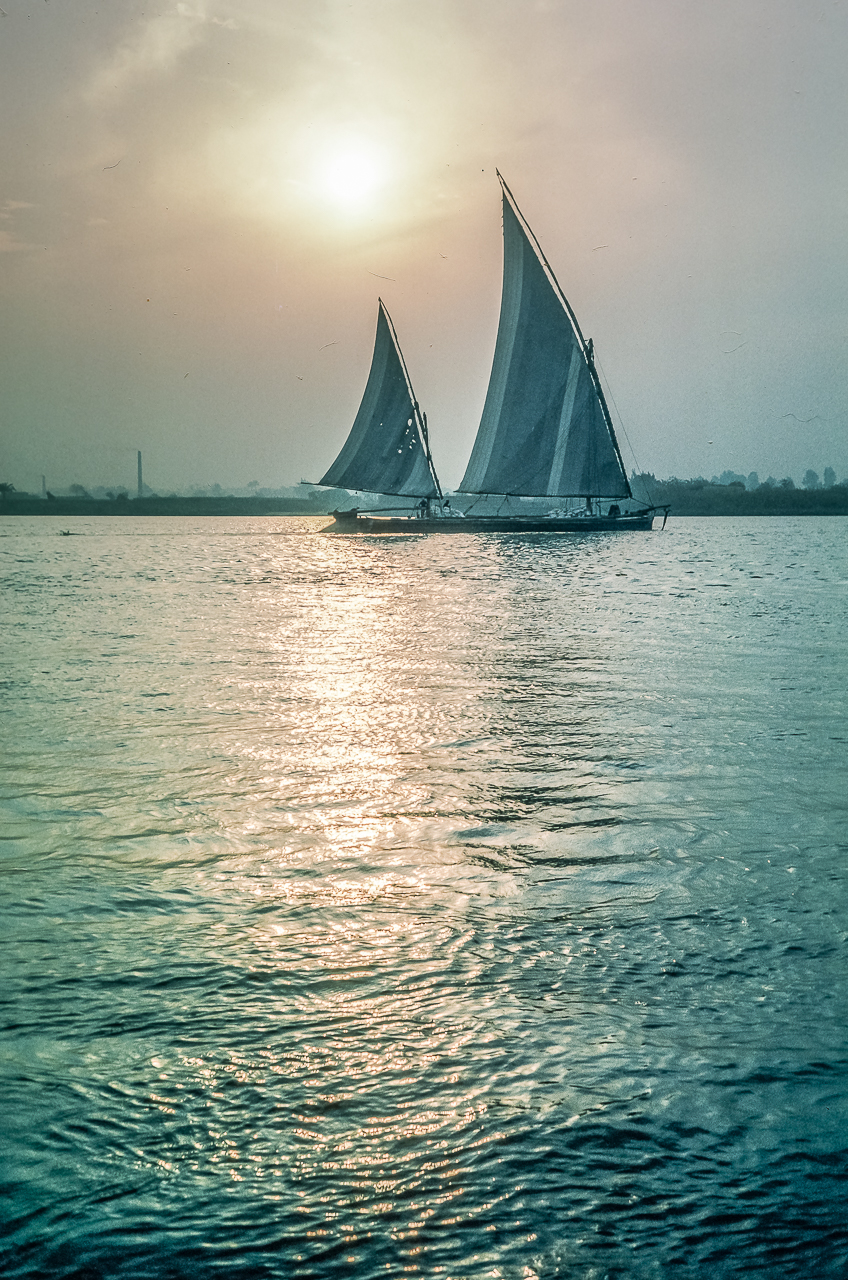 Felucca-sailed Workboats on The Nile River above Cairo.