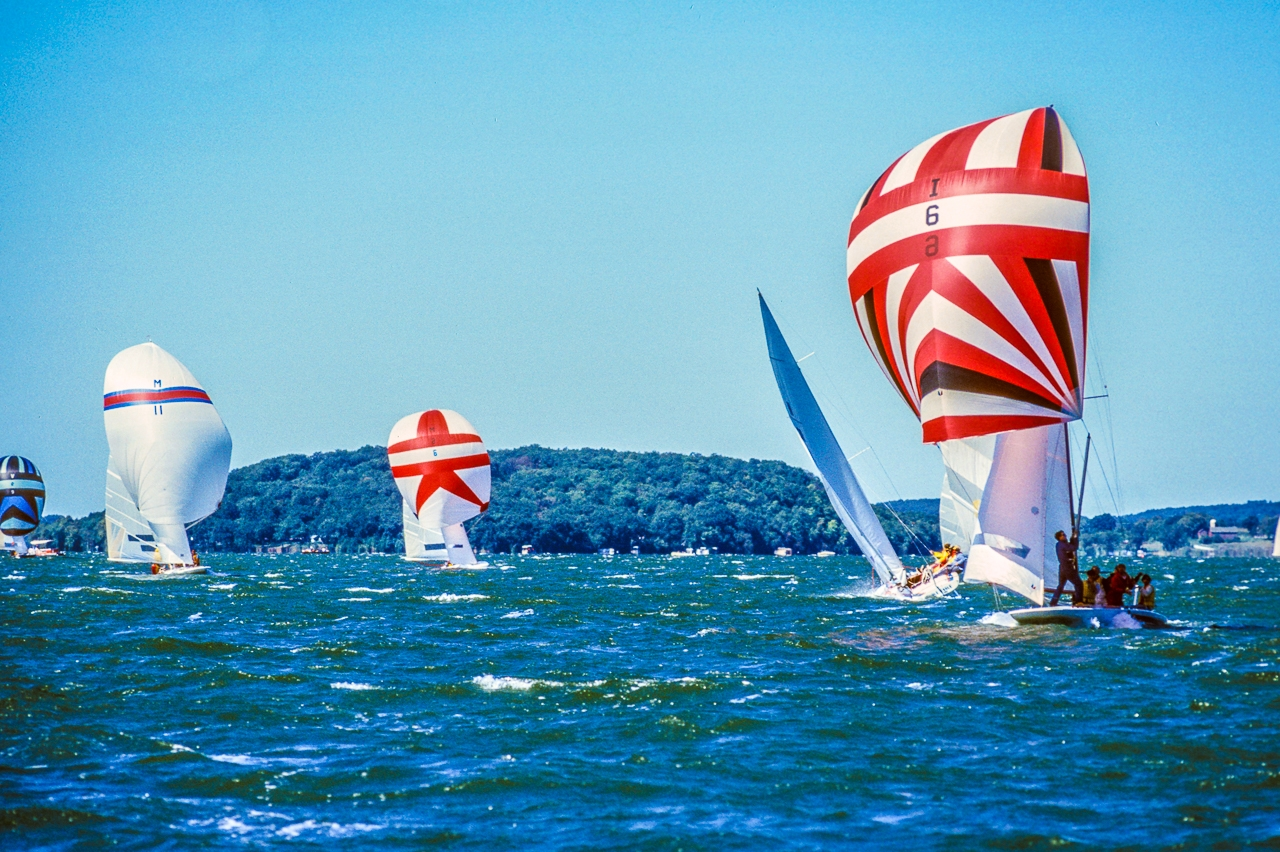 Racing Sailboats Fly Spinnakers on White-capped Green Lake