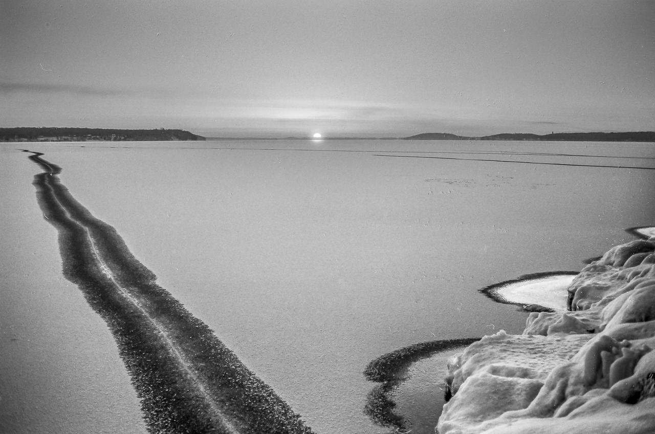 Black Ice Sunset, Green Lake, Wisconsin