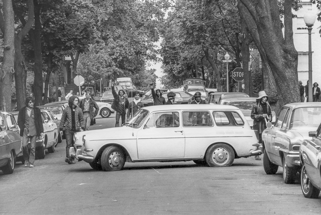 Anti-Vietnam War Activists Cheer for Disabled Car