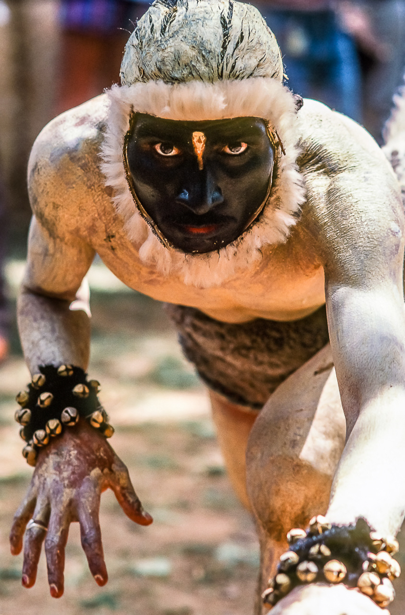 DANCER MASKED AS HANUMAN, INDIA'S BENEVOLENT MONKEY GOD