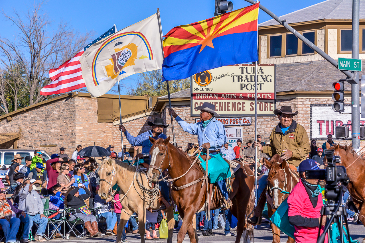 NAVAJO, HOPI & AMERICAN FLAGS FLY FOR WESTERN NAVAJO FAIR PARADE (2016)