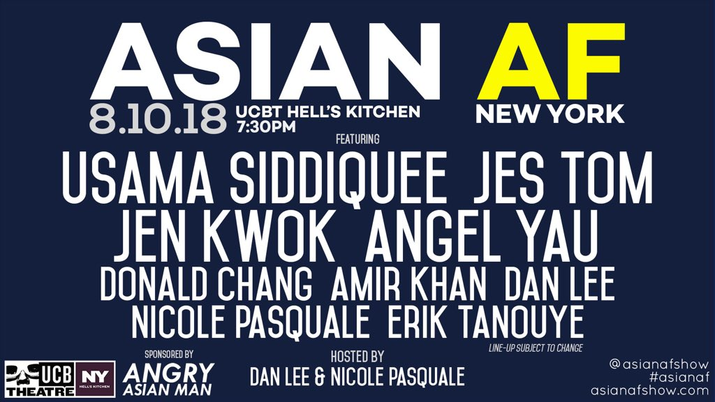 Asian AF is a variety show featuring the best Asian American talent in Los Angeles and New York. Improv, sketch, stand-up and even some music. This show isn't just lit AF, it isn't just funny AF, it's Asian AF! www.asianafshow.com