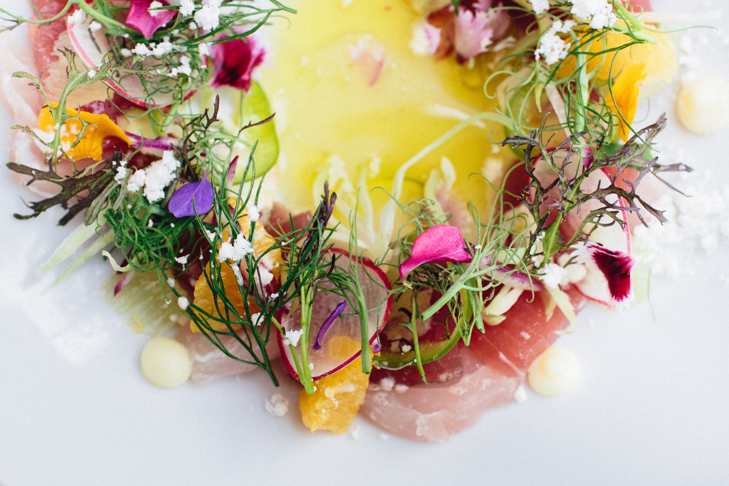 The Crudo: Ahi Tuna and Scallops with a ceviche vinaigrette in the middle, olive oil powder, olive oil pudding, shaved raw fennel, jalapeños, breakfast radishes. Garnished with mustard frill and edible flowers.