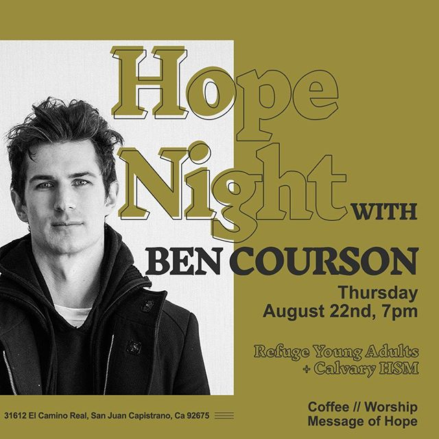 B I G ⚡️ A N N O U N C E M E N T⚡️ HOPE NIGHT with @ben_courson is taking place THIS UPCOMING THURSDAY! Gather your crew, invite your coworkers, grab your classmates, do whatever it takes to get you and as many people you want impacted by the hope of Jesus to this event! Don't miss out!  WE'RE. SO. STOKED.