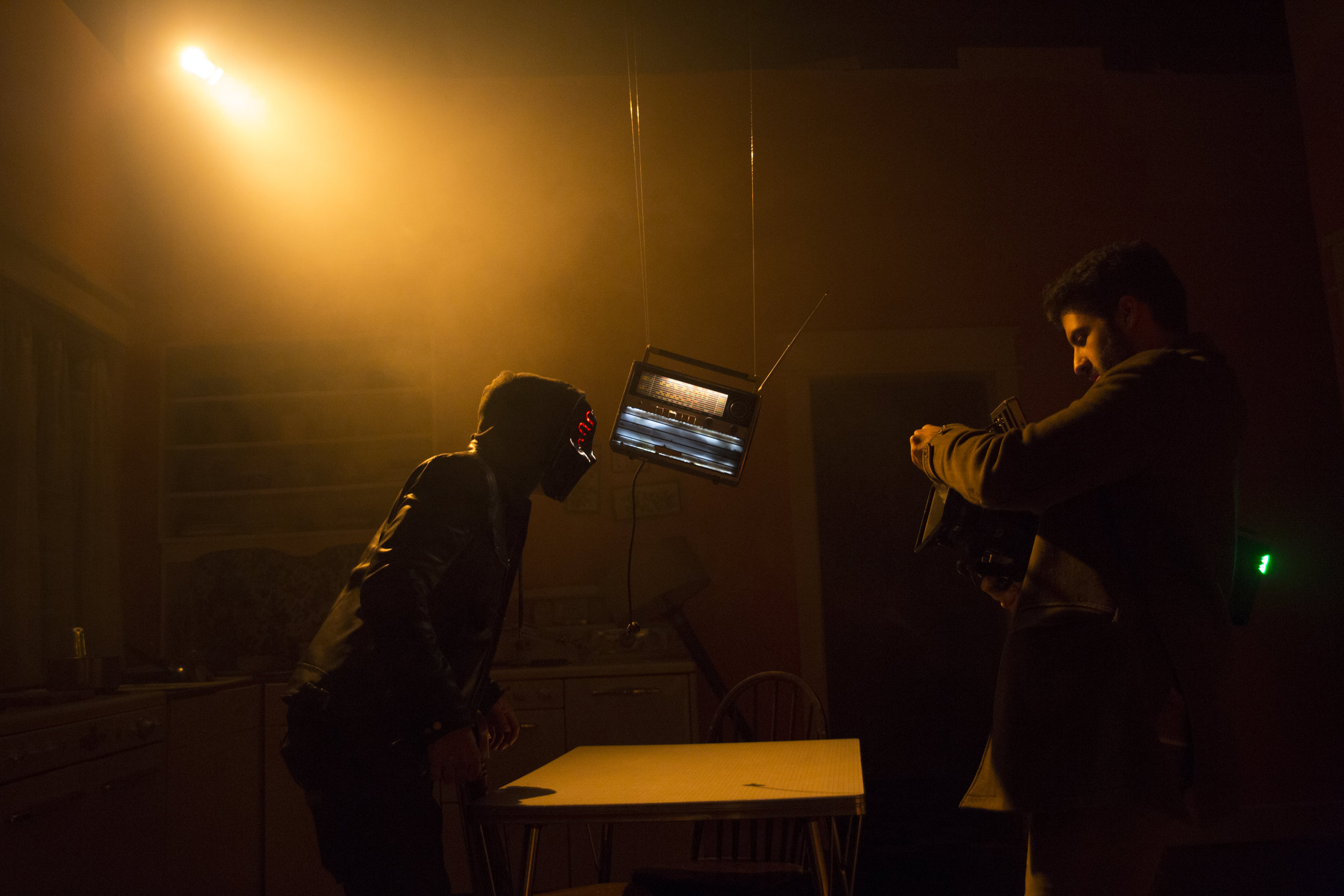 Matt Bendo composing a shot during a take on the set of Mind Games Photo Credit - Samuel Pollock