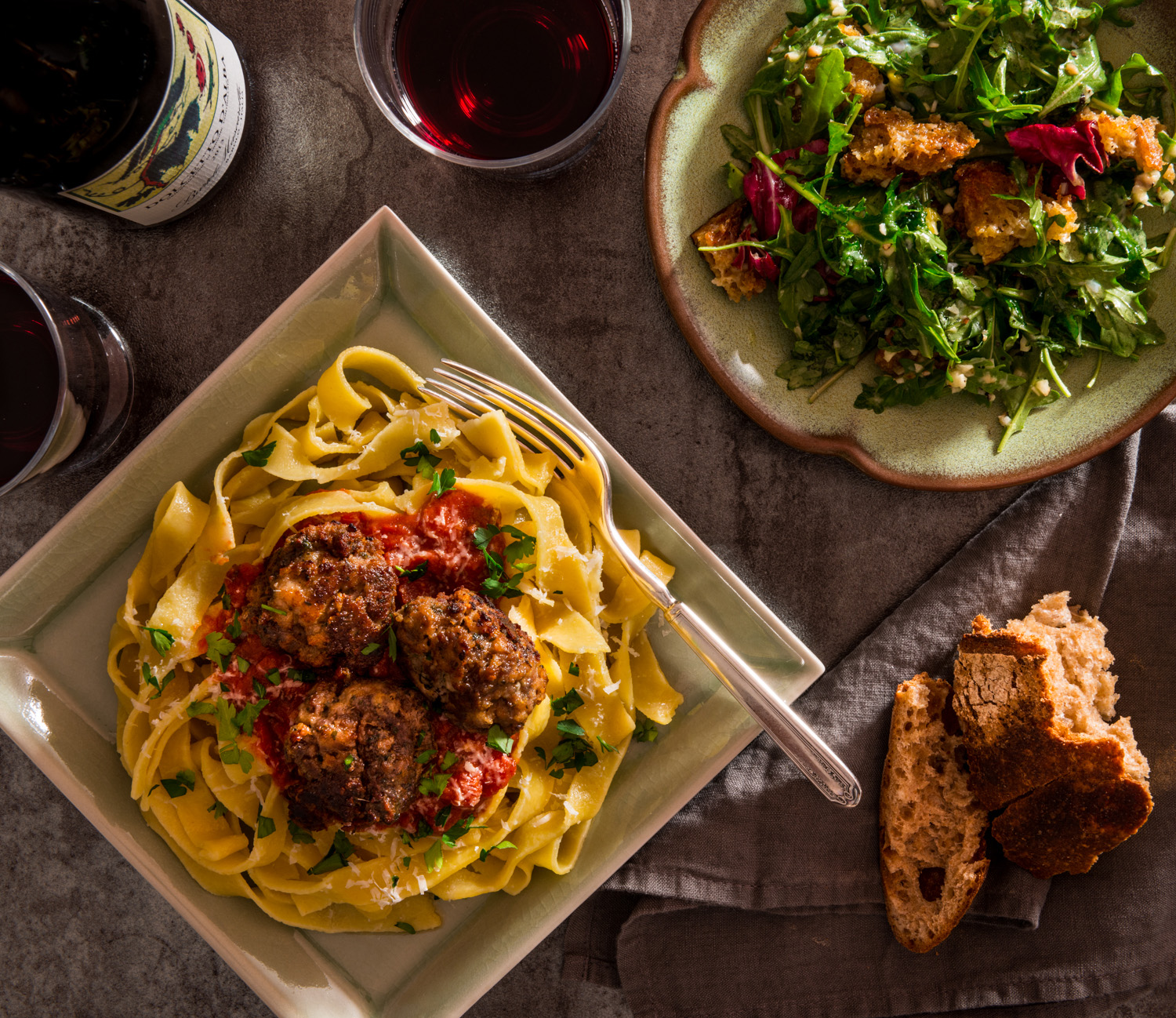 In the spirit of Sunday Supper  : Handmade semolina pasta, beef and pork meatballs, red sauce, parsley, Parmigiano : Kale Caesar salad, rustic croutons, Parmigiano : Paired with Bartolo Mascarello's Dolcetto d'Alba : Other recommended pairings include Chianti and Sicilian reds