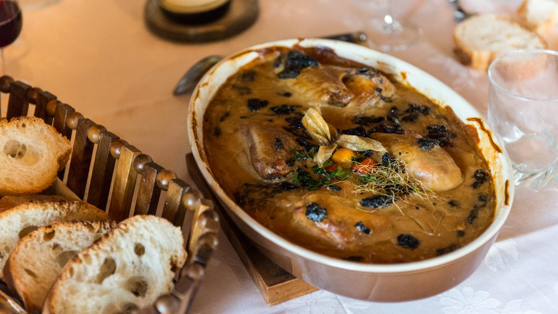 France : Beaujolais : Bresse chicken in morel cream sauce for lunch at Pavillon de Chavannes