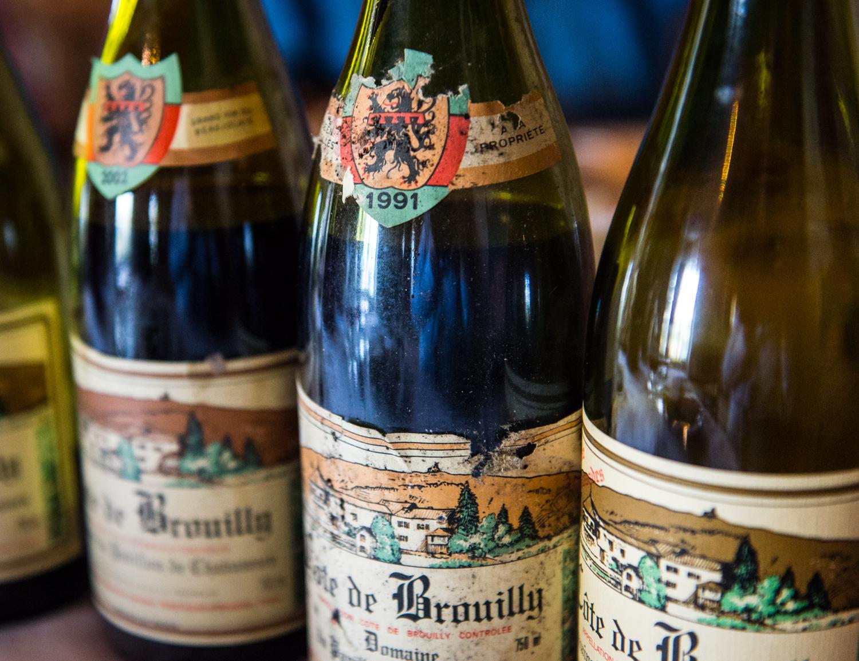 France : Beaujolais : Inspecting beautiful old vintages at Pavillon de Chavannes
