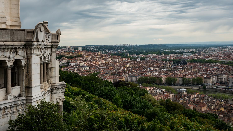 France : Lyon : Basilica of Notre-Dame de Fourviere overlooking Lyon