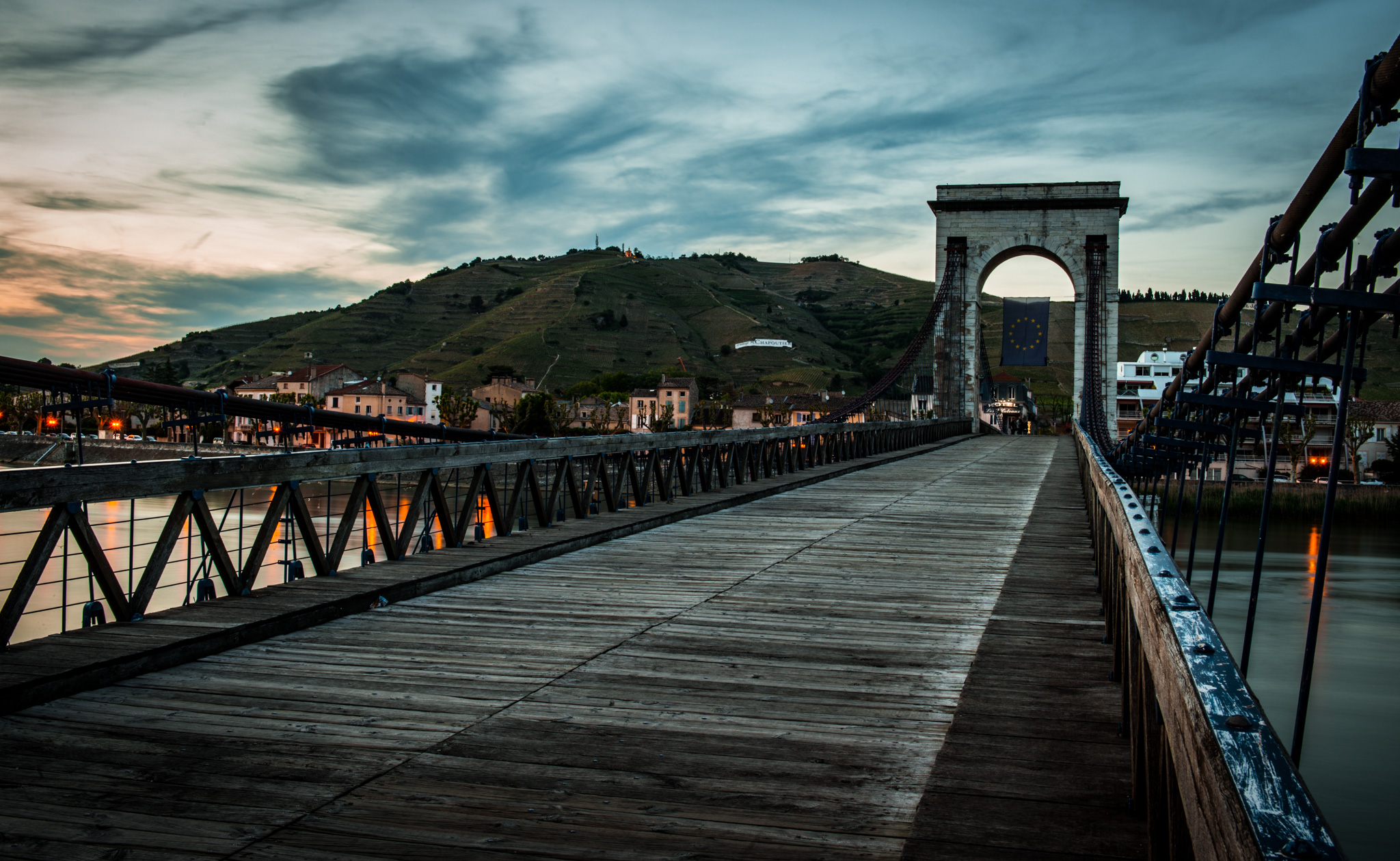 France : Northern Rhone : The pedestrian bridge leading to Tain l'Hermitage