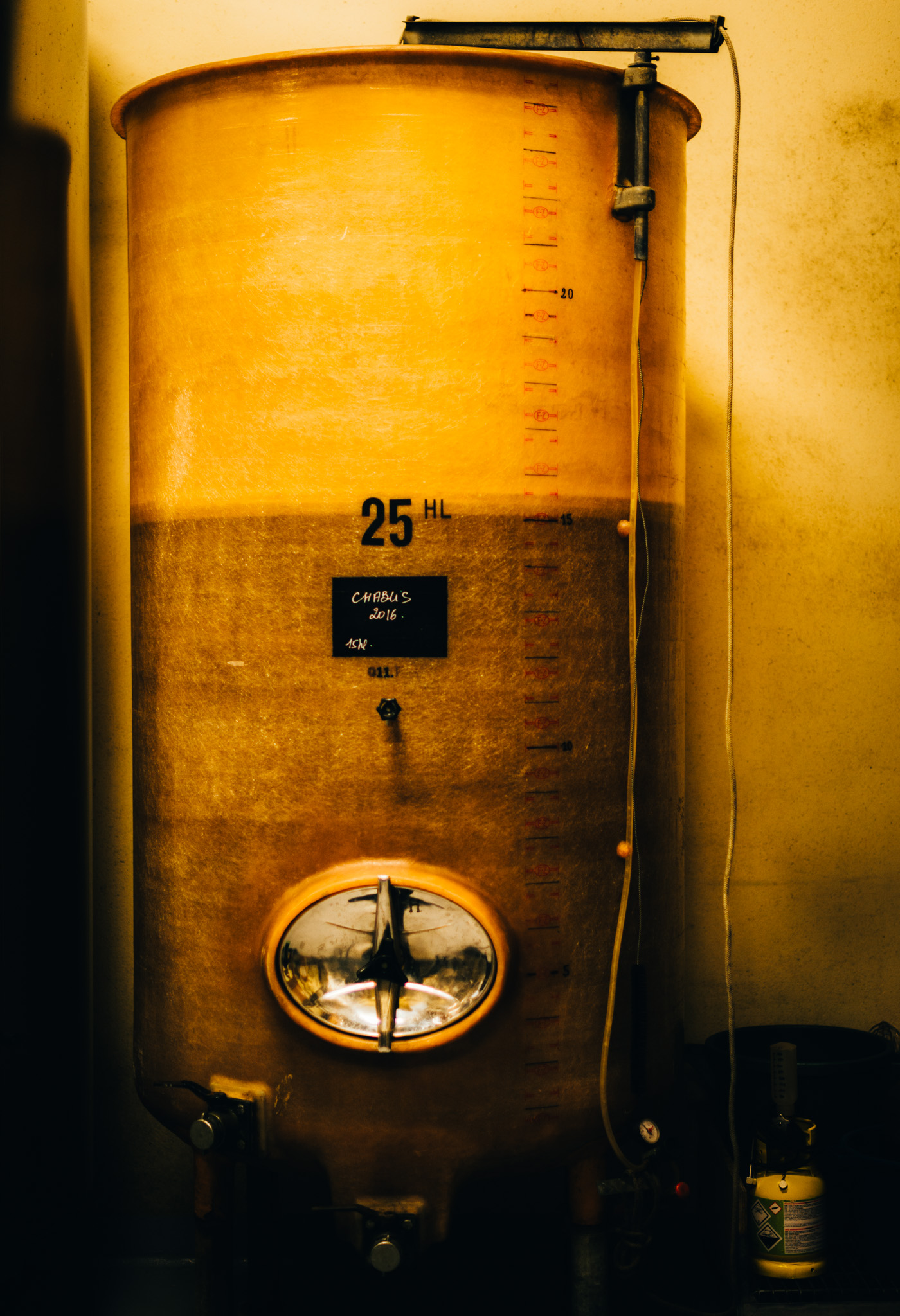 Burgundy : Chablis : Fermentation tank at Gilbert Picq